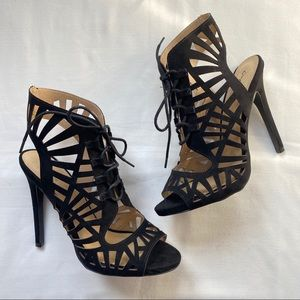 Qupid Black Heels Tie up Cage Style size 10